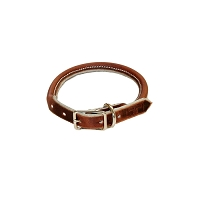 RedLine K9 Adjustable Rolled Ultra Leather Collar - Brown