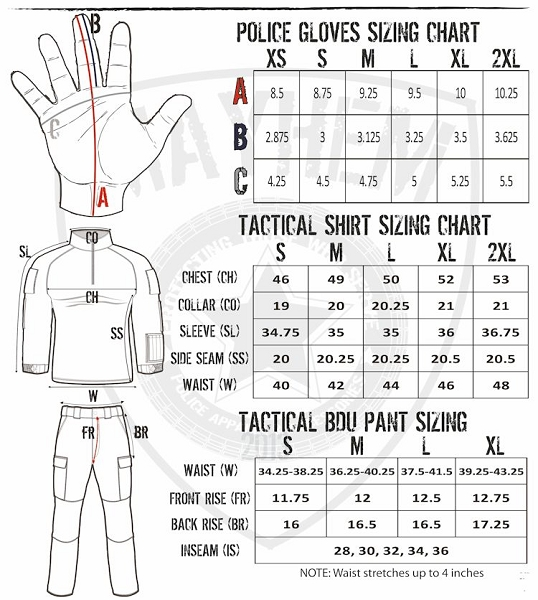 Workout Gloves Size Chart: Mayhem Tactical Police And Military Pants