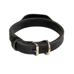 "1.25"" RedLine K9 Heavy Leather Dog Collar with Handle"